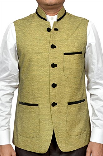 Adam In Style Mehndi Poly Cotton Jacket For Men
