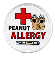 PEANUT ALLERGY Medical Alert 3 inch White Rim Sew-on Patch by Creative Clam