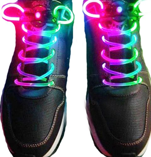 Super Muti-Color Cool Led Flash Lighting Glow Shoelaces Shoe Laces Disco Party