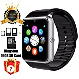 Smart Watch GT08 Bluetooth with 16GB SD Card and SIM Card Slot for Android Samsung S5 S6 Note 4 5 HTC Sony LG and iPhone 5 5S 6 6 Plus Smartphones (Sliver)