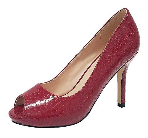 Pepe-12 Women's Open Toe Patent Comfort Fit Classic Party Date Platform Dress Heels Pumps shoes Wine 7.5