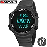 Ensteinberge Digital Watch Men, Waterproof LED Sports Watch, Outdoor Timer Wrist Watch Pedometer, Big Face & Luminous Back Light & Easy Read - Dark Grey (Color: Gray)