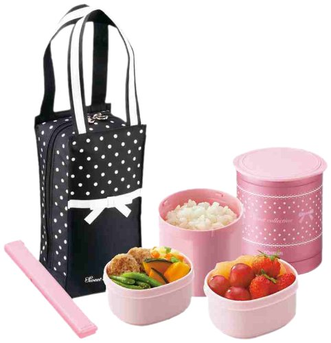 zojirushi pink thermos lunch box bento jar black bag kawaii gift from japan. Black Bedroom Furniture Sets. Home Design Ideas