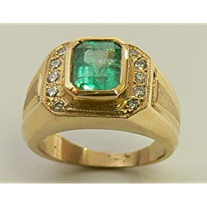 Colombian Emerald & Diamond Men's Ring
