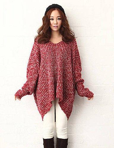 ZY/ Pullover Da donna Manica lunga Vintage / Casual / Romantico / Da serata / Taglie forti Misto lana Spesso , red-one-size , red-one-size