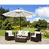 New ROMA Rattan Wicker Weave Garden Furniture Patio Conservatory Sofa Set (Brown) INCLUDES OUTDOOR FURNITURE COVER