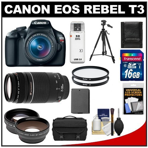 Find Discount Canon EOS Rebel T3 Digital SLR Camera Body & EF-S 18-55mm IS II Lens with 75-300mm III Lens + 16GB Card + .45x Wide Angle & 2x Telephoto Lenses + Battery + (2) Filters + Tripod + Accessory Kit