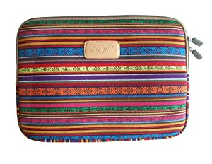 Varylala Canvas Sleeve Case Bag Cover for 13-inch Laptop / MacBook / MacBook Pro / MacBook Air (Red and gold tribal print, 13 inch)