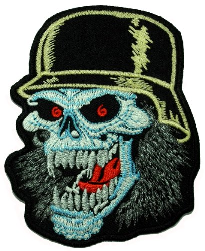 German Soldier Skull WWII Gang Chopper Biker Motorcycle DIY Applique Embroidered Sew Iron on Patch