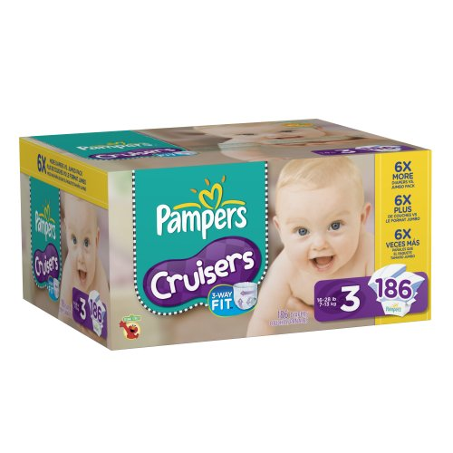 PampersCruisers Diapers Size 3 Economy Pack Plus, 186 Count