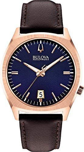 Bulova Accutron II Surveyor Brown Leather and Blue Dial Watch