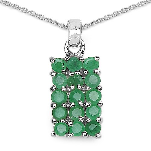 1.05 Carat Genuine Emerald 925 Sterling Silver Pendant