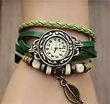 HITOP Ladies Retro pulsera de cuarzo Hoja de cuero tejido Reloj - 6 colores - verde