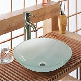 New Tempered Glass Vessel Sink Vanity Bathroom Bath Sink Premium Quality