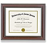 Graduation Frame Sized 11x14 and 8.5x11 with Mat - Beaded Mahogany Wood Style - Certification Frame, University Diploma Frame, High School Diploma Frame, Certificate Frame