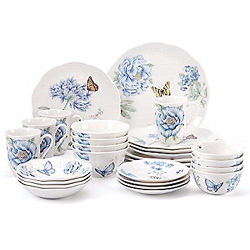 Lenox Butterfly Meadow Blue Dinnerware Set 28 Piece Service For 4 Porcelain