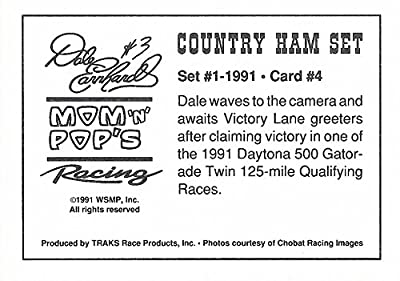 AUTOGRAPHED Dale Earnhardt Sr. 1991 Traks Racing RARE COUNTRY HAM SET (Daytona Duel Win) Vintage Rare NASCAR Trading Card with COA