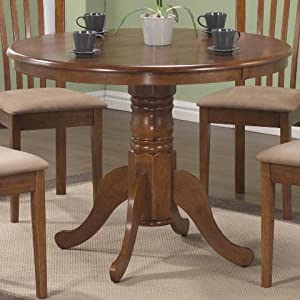 Specialties Round Pedestal Table 40 Inch Oak Kitchen Dining