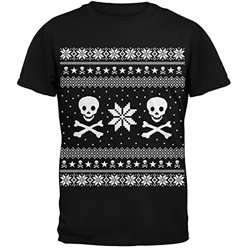 Skull & Crossbones Ugly Christmas Sweater Black Youth T-Shirt - Youth Medium