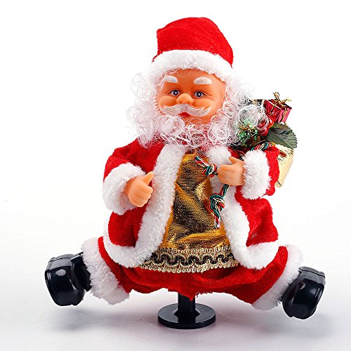 dancing santa claus does the splits animated christmas decorations indoor plays jingle bells musical christmas figure 9 inch by season essential - Essential Christmas Decorations