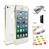 Upgrade iPhone 5/5s to iPhone6 in 1 Sec with GoldCase Gift Bag : Circle Arc Ultra Thinght Metal Bumper With Golden Edge + Toughened Protective Film(9H) + Ear plug(1 Pcs) + Button decoration(4 Pcs) + GoldCase Cellphone Bag !