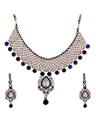 Lucky Jewellery Blue And Green Guluband Necklace Set With Mang Tika For Women