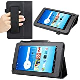 Evecase SlimBook Leather HandStrap Folio Stand Case Cover for Hisense Sero 7 LT (Lite) - 7 inch Android Tablet - Black