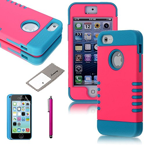 Atc Lumsing(Tm) 3-Piece 3 In 1 Combo Hybrid Defender High Impact Body Armor Hard Pc & Silicone Case Protective Cover For Apple Iphone 5C With Screen Protector & Stylus Pen (Pink+Light Blue)
