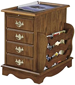 Good Powell Furniture Nostalgic Oak Wood End Table with Magazine Rack Furniture u Decor