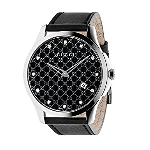 Gucci G-Timeless Collection Women's Quartz Watch with Black Dial Analogue Display and Black Leather Strap YA126305