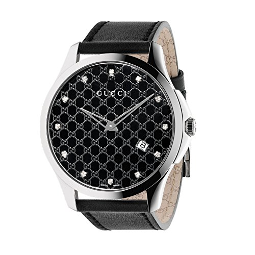 Gucci G-Timeless Collection Women's Quartz Watch with Black Dial set with 12 diamonds Analogue Display and Black Leather Strap YA126305