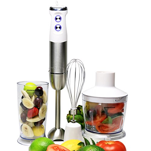 Ovente HS685W 6-Speed 500 Watt Immersion Hand Blender with Food Chopper, Beaker and Whisk Attachment, White (Blender 500 compare prices)