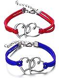 Via Mazzini Love Birds Blue Red Heart Couple Bracelets For Men And Women