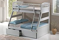 White Hardwood Triple Sleeper Bunk Bed with Storage Drawers