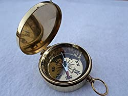 Brass Pocket Compass w/ Lid [ Magnetic ] , Nautical Camping Hiking