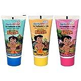 DentoShine Chhota Bheem Gel Toothpaste for Kids - Pack of 3 Flavors (Strawberry, Mango & Bubble Gum)