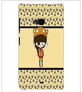 PrintDhaba Cute Doll D-5871 Back Case Cover for MICROSOFT LUMIA 535 (Multi-Coloured)