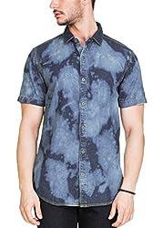 Zovi Cotton Slim Fit Washed Half Sleeve Denim Shirt(12067200801_44)