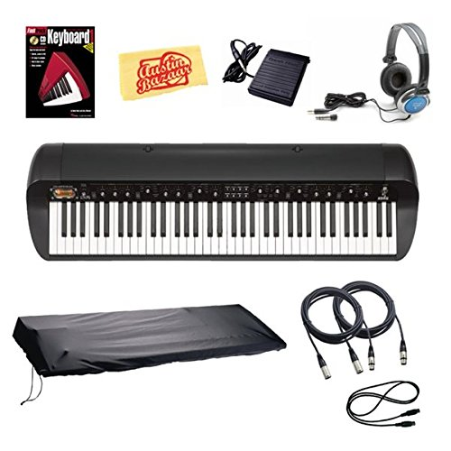 Korg Sv-1Bk 73-Key Stage Vintage Piano Bundle With Dust Cover, Sustain Pedal, Essential Cables Pack, Headphones, Instructional Book, And Polishing Cloth - Black