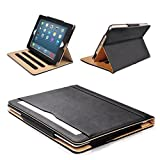 MOFRED® Black & Tan Apple iPad Air 2 (Launched Oct. 2014) Leather Case-MOFRED®- Executive Multi Function Leather Standby Case for Apple New iPad Air 2 with Built-in magnet for Sleep & Awake Feature -- Independently Recommended by