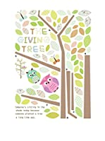 Ambiance Live Vinilo Decorativo Owls and butterflies on tree Multicolor
