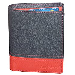 Style98 Pure Leather Black & Red Men Slim Wallet with Card Holder & Coin Pocket