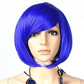 Autek Oblique Bangs Short Bobo Hair Wig Cosplay Party Wigs Hair Wigs