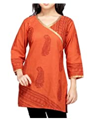 Orange Printed South Cotton Kurti