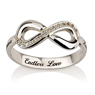 Infinity Promise Ring with Swarovski CZ - Engraved Just for You