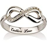 Engraved Infinity Ring, 925 Sterling Silver Infinity ring, Promise Ring with Swarovski CZ-