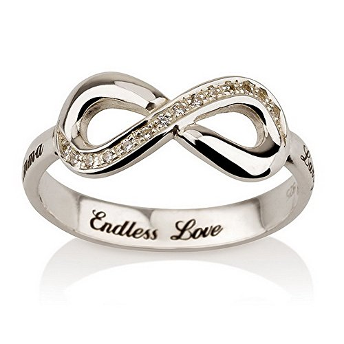 Engraved Infinity Ring, 925 Sterling Silver Infinity ring, Promise Ring with Swarovski CZ-Available sizes 5,5.5,6,6.5,7,7.5,8,8.5,9 (5)