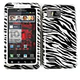 HARD SOFT BUMPER CASE FOR MOTOROLA DROID BIONIC XT875 TRANS ZEBRA PRINT