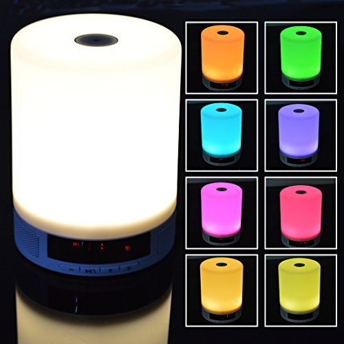 All-in-1 Bluetooth 4.0 Speaker with LED Table Lamp (Dimmable 4 Brightness and Dynamic Color Changing Mode), Alarm Clock, Speakerphone, Support Tf Card - Hands-free Calls - Ideal As a Gift!
