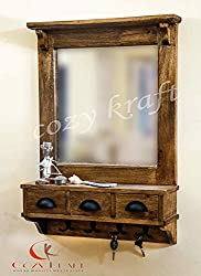Dressing Mirror with hooks and 3 storage drawers , bathroom shelf (in 2 parts)